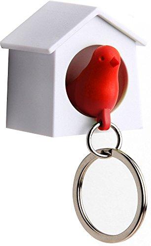 QUALY Accroche-clés Mini nichoir avec Porte-clés avec sifflet en Forme d'Oiseau Blanc/Rouge