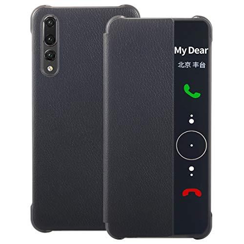 ZAORUN Cubiertas Protectoras para celulares Compatible for Huawei P20 Pro Litchi Texture PC PU Funda con Tapa Horizontal con Smart View Winodw y función de Despertador del sueño (Color : Black)