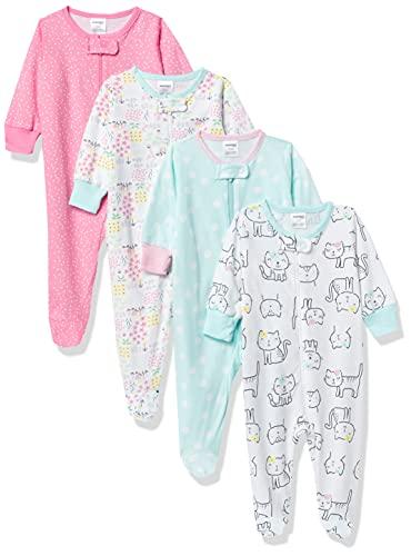Onesies Brand Baby Girls' 4-Pack Sleep 'N Play Footies Multi Pack, Cats, 6-9 Months
