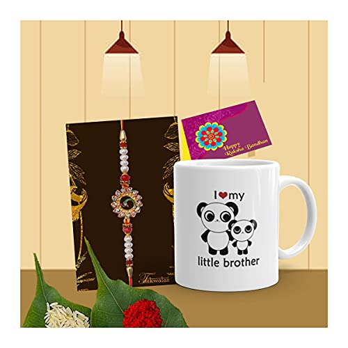 Tonkwalas Rakhi for Brother with Gift - Designer Rakhi with Rakshabandhan Special Coffee Mug, Wishes Card and Roli Chawal (Design-4)