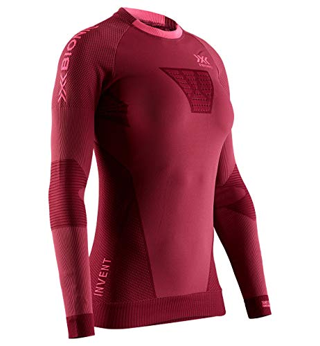 X-Bionic Invent 4.0 Running Long Sleeves Women T Shirt DE Course Manches Longues Femme, Namib Red/Neon Flamingo, FR : L (Taille Fabricant : L)