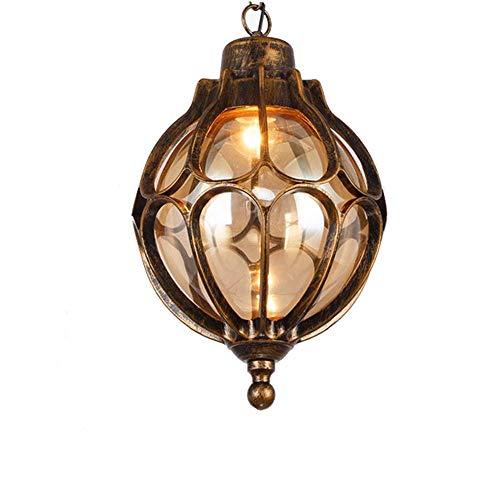 Terrasverlichting, hanglamp, buitenlamp, kogel, vintage, zwart/goud, hanglampen, buitenlampen, E27, IP44, aluminium glasscherm, hanglamp voor paviljoen, druiven, frame, baldakijn, 18 x 33 cm
