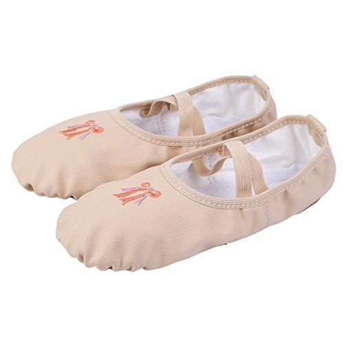 Freebily Zapatillas para Niña Zapatos de Danza Ballet Gimnasia para Niña Confortables Antideslizantes Beige EU 27 (16.5cm)
