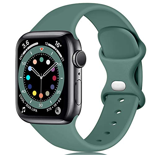 Epova Cinturino in Silicone Compatibile con Apple Watch 40mm 38mm, Cinturini di Ricambio per iWatch SE Series 6 5 4 3 2 1, Verde Pino, Grande