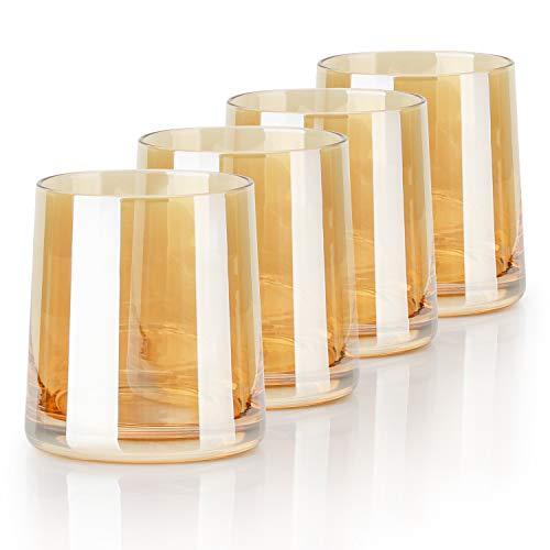 Beasea - Juego de 4 vasos de whisky de 255 ml, diseño de whisky, color ámbar