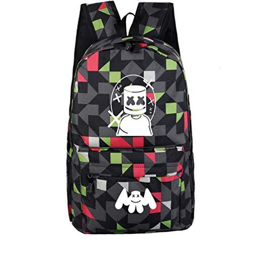 WYCY学生バックパックMarshmelloスクールバッグユニセックス防水スクールブックバッグ印刷トレンドリュックサック用女の子と男の子 (黒の格子縞)