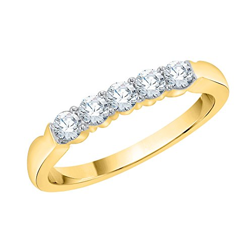 KATARINA Anillo de aniversario de diamantes en oro amarillo de 14 k (1/4 quilates, J-K, SI2-I1) (tamaño 9,5)