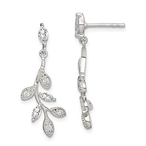 Sterling Silver Cubic Zirconia Branch & Leaves Dangle Earrings