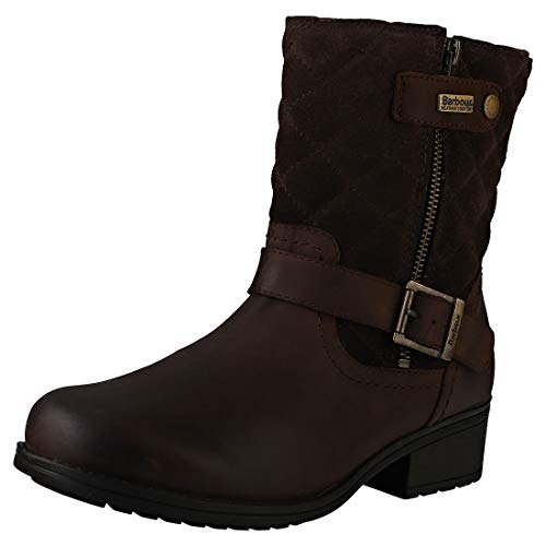Dames Barbour Sienna Leather Winter Warm Fashion Closed Toe Enkellaarzen - Bruin - 3