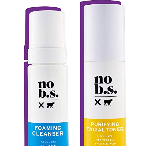 No B.S. Foaming Cleanser and Facial Toner Duo - Natural Face Wash For Women and Pore Minimizer Combo
