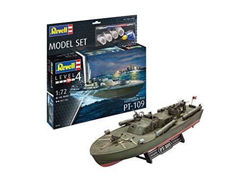 Revell 65147 Model Set Schnellboot Patrol Torpedo Boat PT-109, Schiffmodell zum Selberbauen 1:72, 34,1 cm originalgetreuer Modellbausatz für Fortgeschrittene, Starter Kit mit Basis-Zubehör, unlackiert
