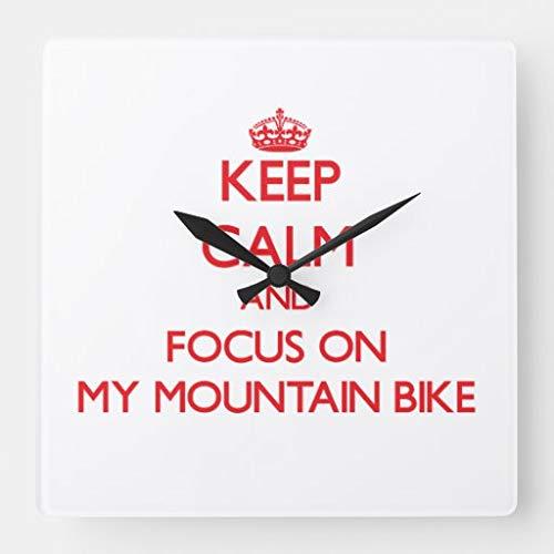 tian huan88 15 Inch Houten Wandklok, Blijf kalm en focus op Mijn Mountainbike Vierkante Wandklok Boerderij Muurdecoratie voor Keuken, Woonkamer, Slaapkamer, Kantoor