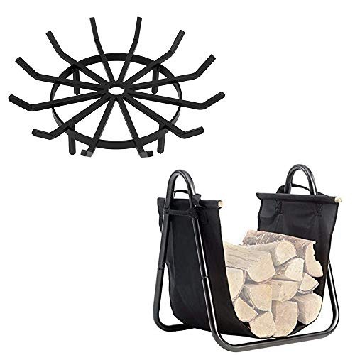 Best Buy! Amagabeli 27in Fire Grate Log Grate Wrought Iron Fire Pit Bundle Fireplace Log Holder with...