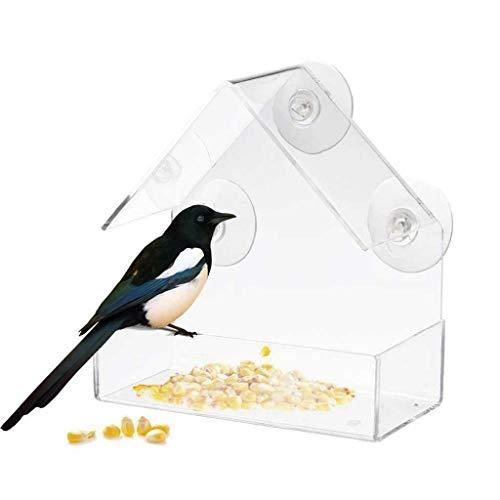 Transparenter Vogelnest Vogelhäuschen,Acryl-Fenster mit starkem Saugnapf Birdhouse Feed Bird Pet Feeder Clear Transparenter Acryl Vogelhäuschen Wohnzimmer, Zimmer, Bar, Supermarkt Tür