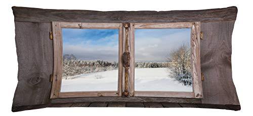 ABAKUHAUS Rústico Funda para Almohada, Escena Temporada De İnvierno, con Cremallera Escondida Lavable Estampa en Ambos Lados, 90 x 40 cm, Umber Blanco Azul