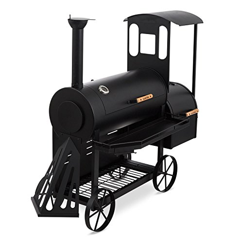 KLARSTEIN Dampflok Parrilla Ahumador - Diseño Locomotora Vapor, Gran Parrilla Principal con...
