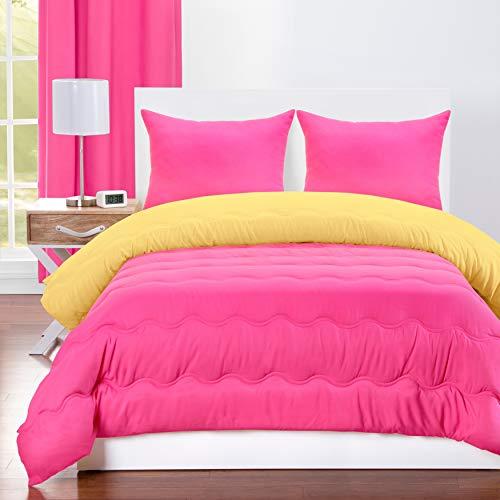 Crayola Hot Magenta and Laser Lemon Reversible 3-Piece Comforter Set 3 Piece Queen, Full - Queen, Full