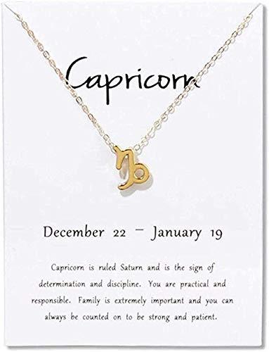 Yiffshunl Collar Moda Constelaciones de Sagitario Collar Colgante Aries Virgo Libra Escorpio Capricornio Regalo de cumpleaños Tarjeta Blanca Collares de clavícula