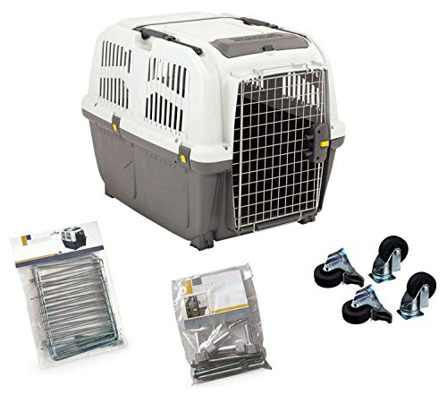 PETGARD Komplettset Transportbox Hundebox Flugbox Skudo 5 + Rollen + Fenster + Schrauben
