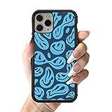 Funda de teléfono Azul Trippy Smiley Face para iPhone 12 Mini 11 Pro 13 MAX X XR 6 7 8 Plus SE20 Funda de Silicona Suave de TPU, A1, para iPhone 12 Pro