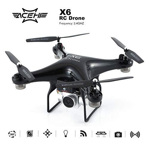 X6 RC FPV Drone avec caméra HD 480P Peinture UV/module de batterie Avion hélicoptère WiFi Transmission en temps réel (couleur: noir)