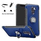 LFDZ Xiaomi Pocophone F1 Anillo Soporte Funda 360 Grados Giratorio Ring Grip con Gel TPU Case Carcasa Fundas para Xiaomi Pocophone F1 Smartphone(con 4 en 1 Regalo empaquetado),Azul