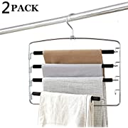 Clothes Pants Hangers 2pack - Multi Layers Metal Pant Slack Hangers,Foam Padded Swing Arm Pants Hangers Closet Storage Organizer for Pants Jeans Scarf Hanging (Black)