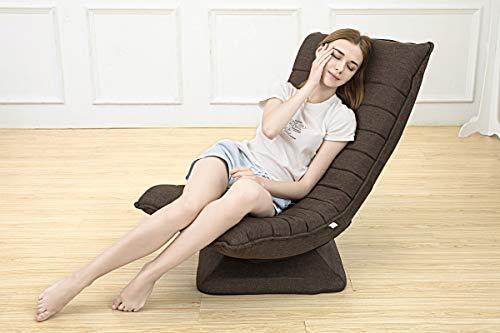 360 °Rotieren ergonomischer Stuhl klappbar drehbar,3Positionen Verstellbarer Relax Lounge Sessel Bequeme Unterstützung Liege Wohnzimmer Balkon Garten klappstuhl fauler sofastuhl Waschbar(braun)