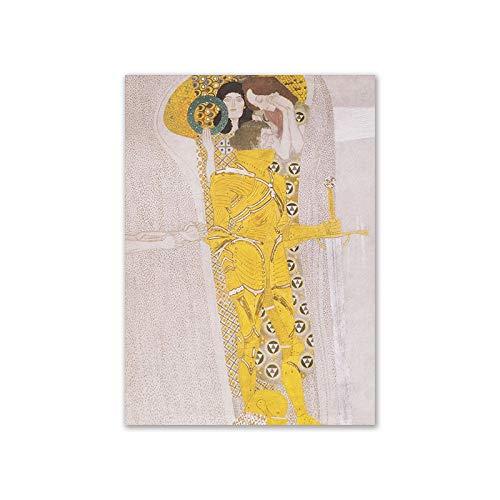 Jiushixw Kus van Gustav Klimt olieverfschilderij, canvas, muurschildering, voor woonkamer, stijlvolle bloch boer, portret-decoratie, afbeeldingen 40x60cm