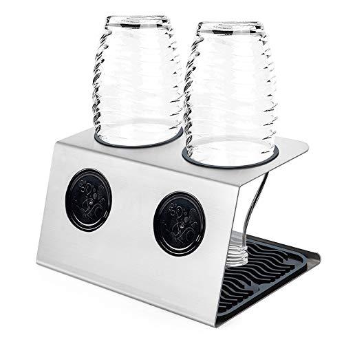 ZWOOS Flaschenhalter mit Abtropfmatte für Crystal und Emil Flaschen - Abtropfhalter aus Edelstahl mit Deckelhalterung - Glatter Rand (2er)
