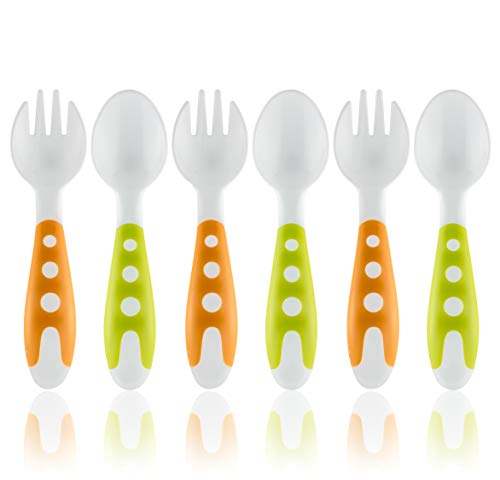 Toddler Utensils Baby Fork and Spoon Set - Baby Utensils Toddler Spoon and Fork Set - Bonus Travel Case - Travel Safe Toddler Training Spoons - Perfect Size Toddler Forks - Perfect Self Feeding Spoon