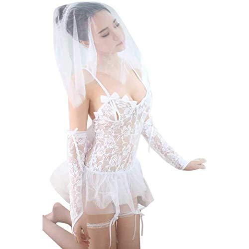 Huachaoxiang Frauen Sexy Dessous Braut Porno Hochzeitskleid Kostüme Rollenspiel Heiße Sexy Unterwäsche Schöne Weibliche Weiße Spitze Kostüm,Weiß