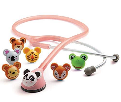 ADC Adscope 618P Adimals - Stethoskop mit verspieltem Design für Kinder, mit einstellbarer AFD Technologie, Gesamtlänge 76cm, Rosa