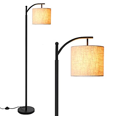 Floor Lamp for Living Room,Zanflare LED Floor Lamp-Classic Arc Floor Lamp with Hanging Lamp Shade,Modern Floor Lamp for Bedroom,Office,Study Room, Energy Saving Bedside Lamp with LED Bulb,Black