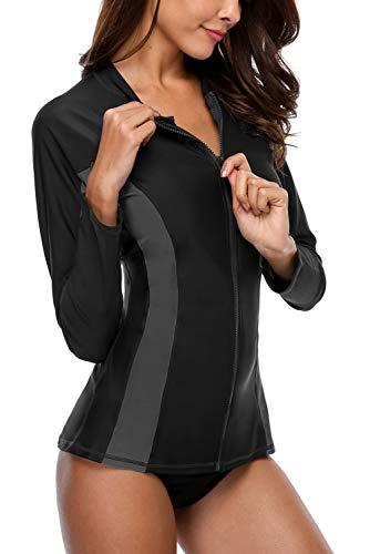 Vegatos Damen Rash Guard Langarm Sportlich Badshirt mit Reißverschluss UV Shirt Schwimmshirt UV Schutz UPF 50+ Schwarz XL