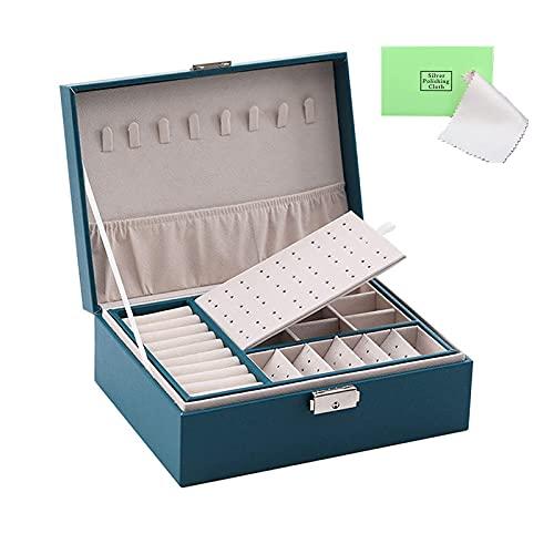 Organizador de caja de joyería, Todos hacen Joyero de viaje portátil con cerradura, organizador de pendientes, organizador de anillos para collar, almacenamiento de joyas para mujeres de