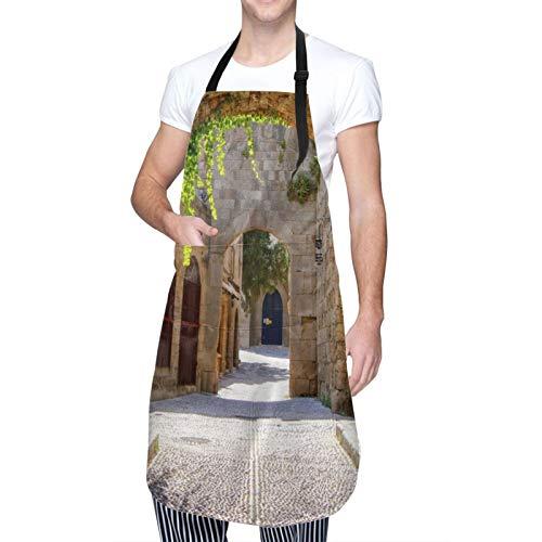 Verstellbarer Hals Hängen Personalisierte Wasserdichte Schürze,Mittelalterliche gewölbte Straße in der Altstadt von Rhodos,Griechenland,Kitchen Latzkleid für Männer Frauen mit 2 Mitteltaschen
