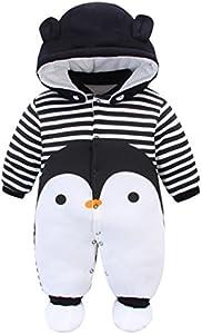 Bebé Traje de Nieve Set Peleles con Capucha Footies Conjunto de Ropa Invierno Muchachos Caricatura Mameluco, Pingüino 0-3 Meses