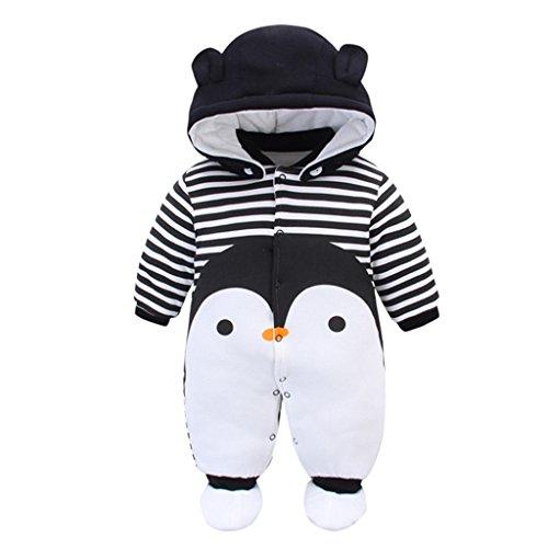 Bebé Traje de Nieve Set Peleles con Capucha Footies Conjunto de Ropa Invierno Muchachos Caricatura Mameluco, Pingüino 9-12 Meses