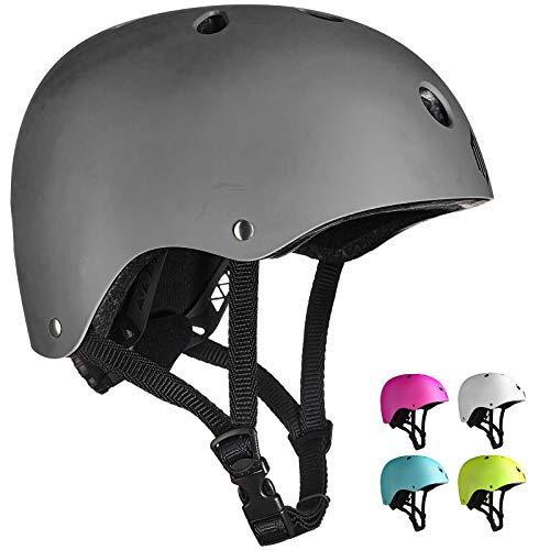 ILM Adults Skateboard Helmet Impact Resistance Ventilation for Skateboarding Scooter Outdoor Sports(Gray,L XL)