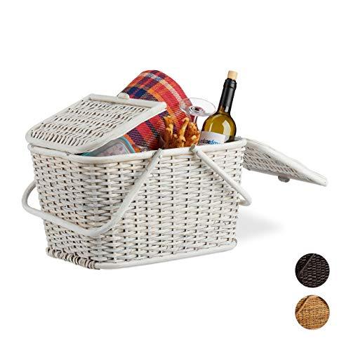 Relaxdays, Weiß Picknickkorb mit Deckel, geflochten, Stoffbezug, Henkel, großer Tragekorb, stabil, handgefertigt, Rattan, 25 Liter