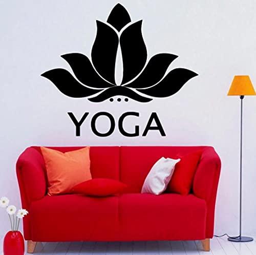 Lotus Yoga pared calcomanía vinilo hermosa flor de loto pegatinas de pared para Yoga Studio decoración extraíble dormitorio decoración Mural 42X36CM