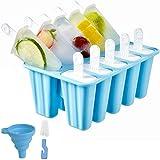 Eisformen, 10 Silikon Popsicle Formen Set, DIY hausgemachte kreative Popsicle Formen Set mit 1 Silikontrichter und 1 Reinigungsbürste, BPA-Frei