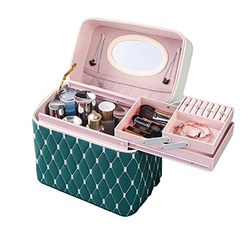 BANYANU Malette Maquillage,Sac cosmétique Multifonctionnel Portable,PU Portable étui à cosmétiques Mode Grande capacité boîte de Rangement cosmétique(27 * 18 * 17cm),Vert