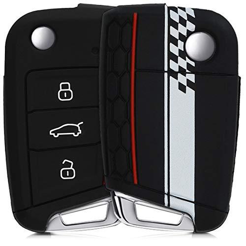 kwmobile Funda Compatible con VW Golf 7 MK7 Llave de Coche de 3 Botones - Carcasa Protectora Suave de Silicona - Bandera a Cuadros