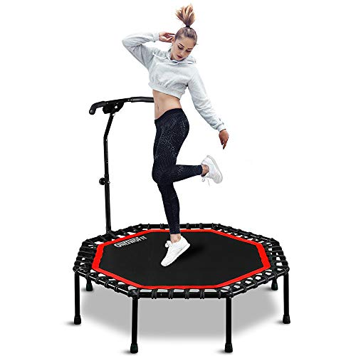 ONETWOFIT 51' Silent Trampoline with Adjustable Handle Bar, Fitness Trampoline Bungee Rebounder Jumping Cardio Trainer Workout for Adults OT104