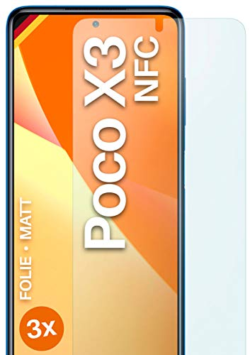 moex Schutzfolie matt kompatibel mit Xiaomi Poco X3 NFC - Folie gegen Reflexionen, Anti Reflex Displayschutz, Matte Displayfolie - 3X Stück