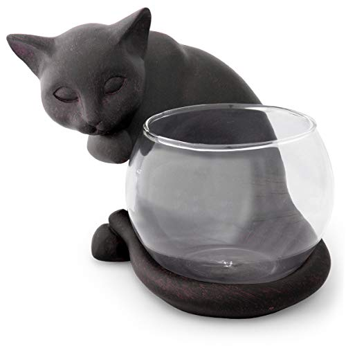 見守り猫 フラワーベース 花瓶 花器(B)ガラスポット ポプリ入れ ハイドロカルチャー ガラス鉢 猫雑貨 置物 西洋 アンティーク風[アジアンスタイルマオ・オリジナル説明書付き
