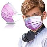 SYMTEX 50 Stück Kinder Mundschutzmasken Masken 3-lagig Mundschutz Gesichtsmaske Einwegmaske mund und nasenschutz (Pink)