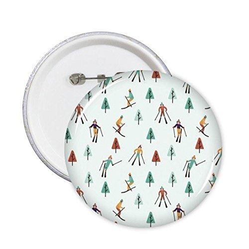 Winter Sport Skifahren Ski Stiefel und Skistock Kiefer Baum Cartoon Style Illustration Runde Pins Badge Button Kleidung Dekoration 5x L